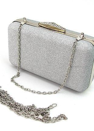 Серебристая сумка-клатч бокс маленькая вечерняя выпускная на цепочке через плечо