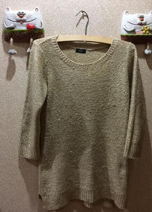 Длинный свитер с пайетками#3