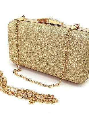 Вечерняя золотистая сумка-клатч бокс через плечо маленькая с блестками