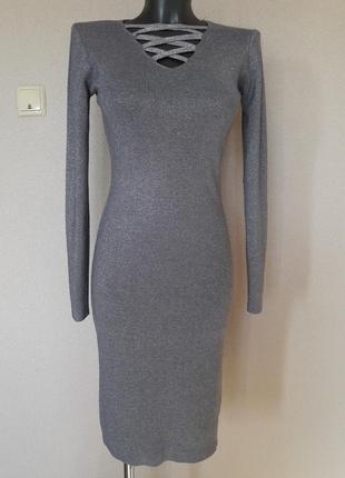 Эффектное,вечернее,коктейльное,25%кашемира,5%шерсти,люрексовое платье в микро-рубчик
