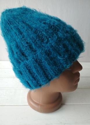 Зимняя вязаная полушерстяная шапка с отворотом шерсть-мохер-60