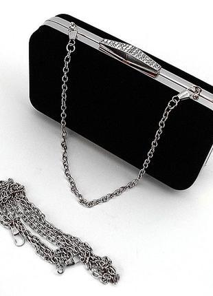 Черная маленькая сумка-клатч бокс вечерняя велюровая через плечо