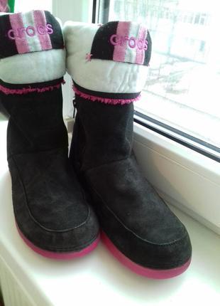 Зимние crocs 38р. стелька 25см сапоги ботинки кроксы