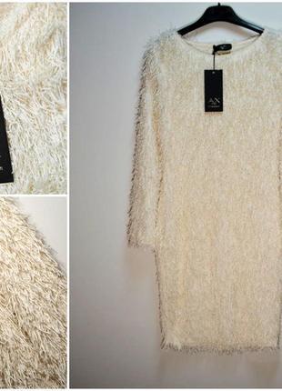 Пушистое теплое кремовое платье