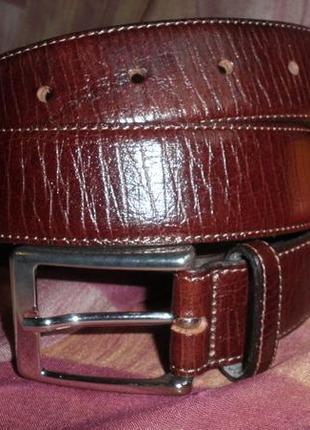 Классический брючный прошитый ремень, мягкая кожа carven 85см качество италия