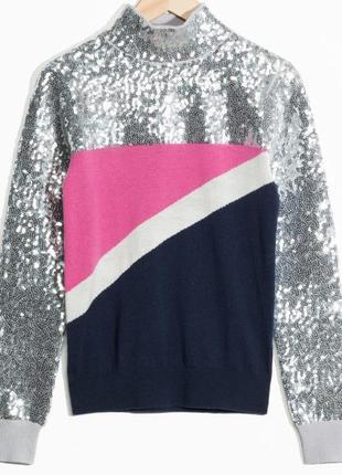 Блестящий праздничный шерстяной свитер гольф в пайетки & other stories