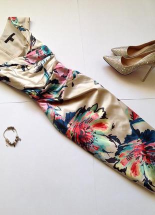 Светлое платье футляр миди с цветочным принтом coast. смотрите мои объявления!