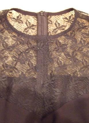 Шикарная черная блузка с декольте - гипюр наряд  новый год