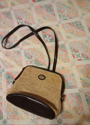 Сумочка из искуственной соломы , маленькая сумочка с длинной ручкой