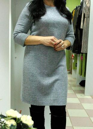 Очень теплое базовое серое платье из плотного хлопка