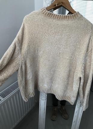 Плюшевый свитер , кремовый , синель