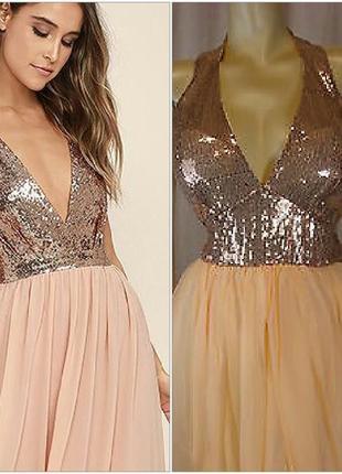 Вечерние золотое платье на новый год  s 44 38 в пайетках