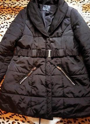 Новая черная куртка зимняя деми пуховик большой размер батал длинная плюс сайз
