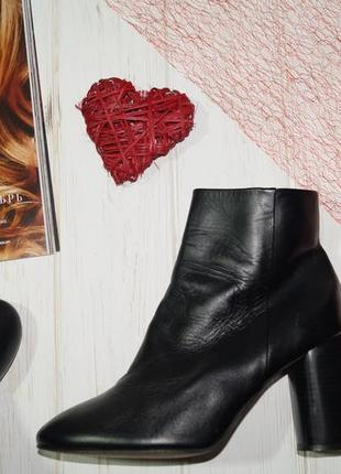 (40/26см) mango! испания! кожа! фирменные ботинки, полусапожки на стильном круглом каблуке