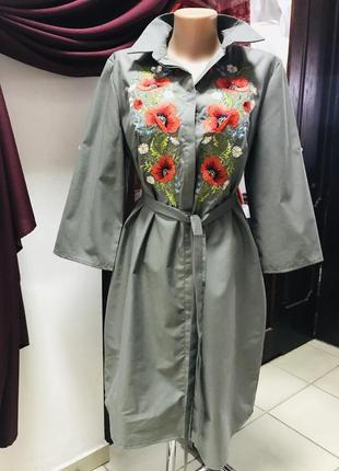 Стильное платье рубашка сафари с вышивкой вышиванка вишиванка 100% хлопок