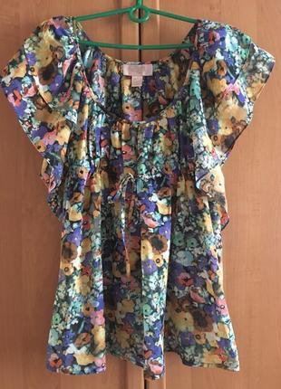 Шелковая блуза с рюшами в цветочный принт h&m