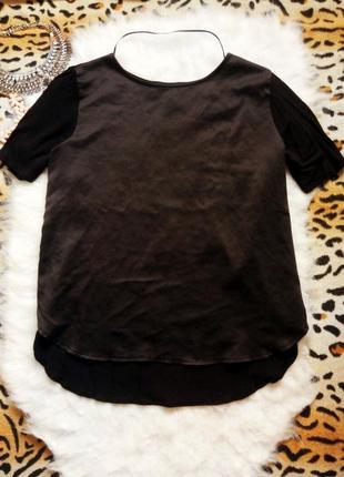 Идеальная черная блуза футболка атлас рукава большой размер батал плюс сайз atmosphere