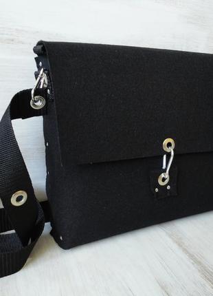 Стильная сумка из чёрного войлока под а4