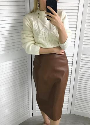 Шоколадна висока юбка