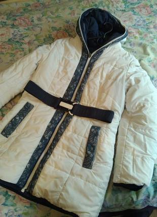 Зимнее двух стороннее женское пальто пуховик.