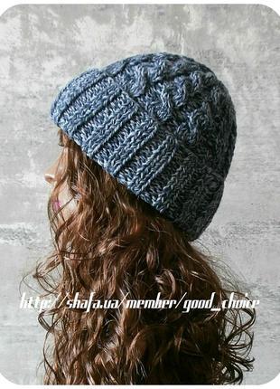 Спеццена до нг! хлопковая шапка с отворотом/косы/грифельного, светло-серого цвета (меланж)