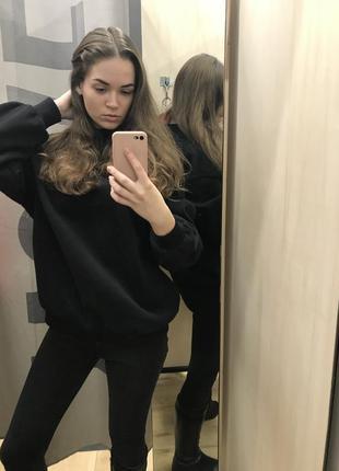 Чёрная толстовка свитер свитшот худи футболка с длинным рукавом bershka