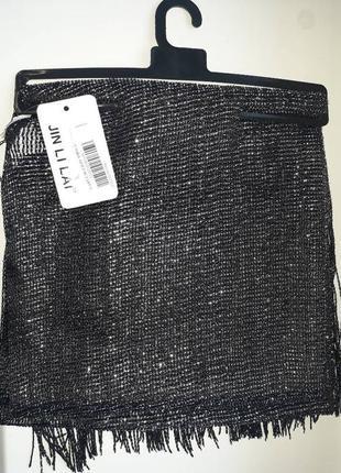 Черный шарф, платок, хомут с люрексом jin li lai