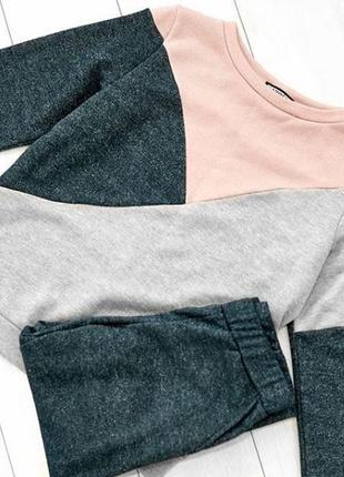 Костюм спорт кофта свитшот геометрия штаны на манжетах