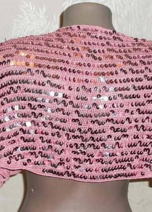 Розовая, нарядная накидка, болеро, на завязочках, в розовые паетки, размер универсальный