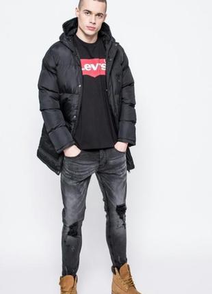 Мужская черная куртка, парка, пальто с капюшоном от brave soul