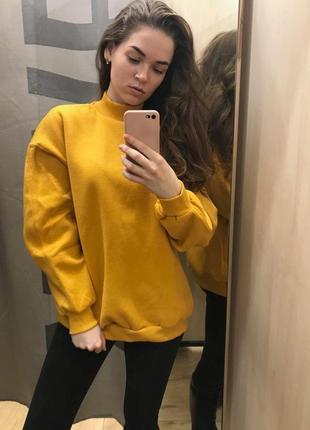 Желтая толстовка свитер свитшот худи футболка с длинным рукавом bershka
