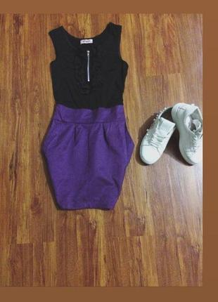 Платье миди чёрный верх, фиолетовый низ