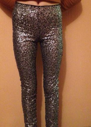 Суперские новые скини брюки с биркой, в пайетках,высокая посадка,талия,h&m.