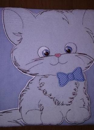 Комплект постельного белья детский бязь с вышивкой голубой котенок тм ярослав