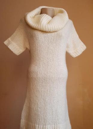 Красивый свитер туника шерсть мохер zara испания