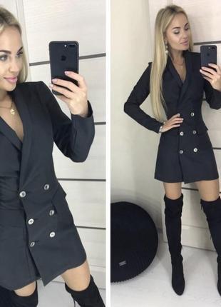 Чёрное мини платье - пиджак с пуговицами