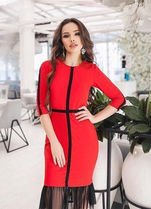 Классный бюджетный вариант на новый год:  красное платье миди рыбка ❤️