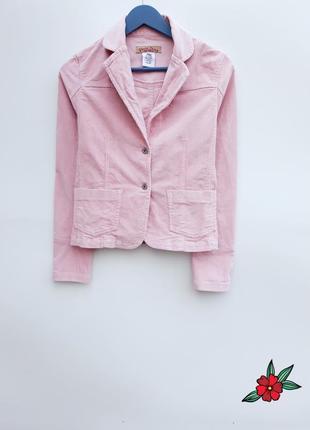 Вельветовый пиджак жакет блейзер нежно розовый пиджак