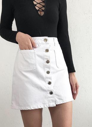 Джинсовая юбка трапеция miss selfridge