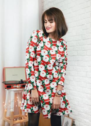 Новогоднее трикотажное платье с санта клаусом размер xs s