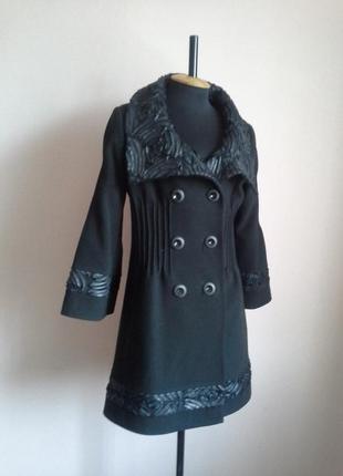 Черное драповое расклешенное пальто драп шерсть осень-весна теплая зима