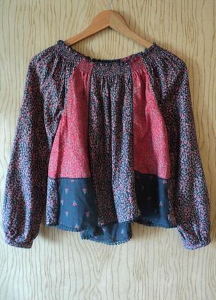 Блуза next блузка рубашка топ хлопковая пэчворк богемная бохо цветочек пышным открытыми