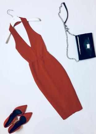 Утонченное платье миди с декольте и красивой спинкой по фигуре новый год корпоратив xs