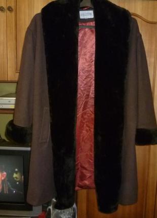 Шикарное шерстяное пальто-кардиган с мехом(кашемировое)оверсайз осень-зима