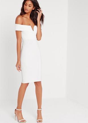 Платье миди со спущенными плечами и v вырезом missguided
