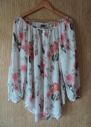 Блуза блузка рубашка туника белая хлопковая принт цветы пляжная пышным свободная бохо