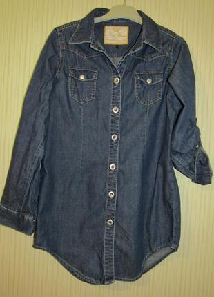 Удлиненная джинсовая рубашка