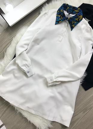 Плаття-сорочка з гобеленовим комірцем