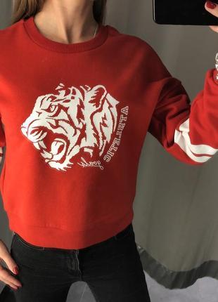 Укороченный красный свитшот с тигром amisu короткая толстовка кофта есть размеры