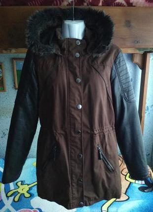 Демисезонная куртка-парка с кожаными рукавами 44-46 р